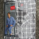 NEW Hanes Men's Pajama Set Long Sleeve Leg Woven Plaid Check S Small