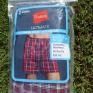 NEW 2 BIG MAN Ultimate boxers Hanes Men size 2X 2XL XX-Large Plaid grey red blue