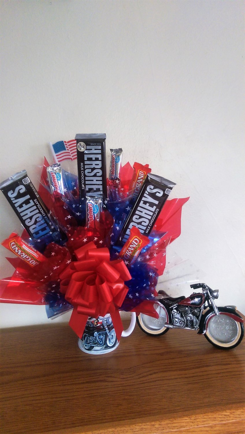 All American Motorcycle Bouquet With Photo Holder And Mug