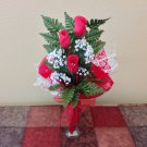 Red Rose Buds and Vase