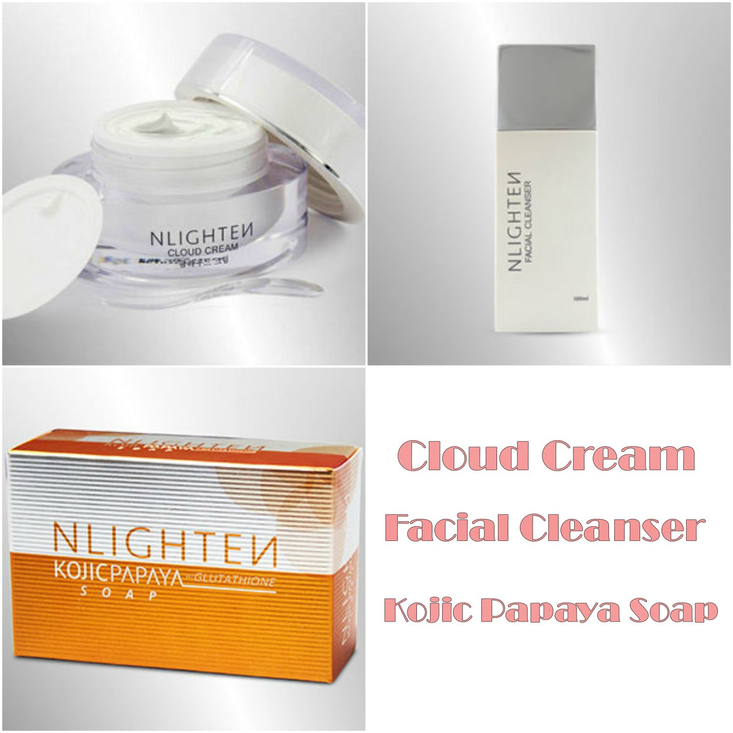 Nlighten Cloud Cream, Facial Cleanser and Kojic Papaya with Glutathione