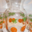 ORANGE  JUICE  CARAFE  WITH  FOUR  GLASSES   PRE-OWNED
