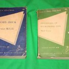 Moby Dick by Herman Melville and Huckleberry Finn by Mark Twain Lot of 2 Literary Classics