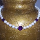 Pearls and Amethyst Necklace and Earrings