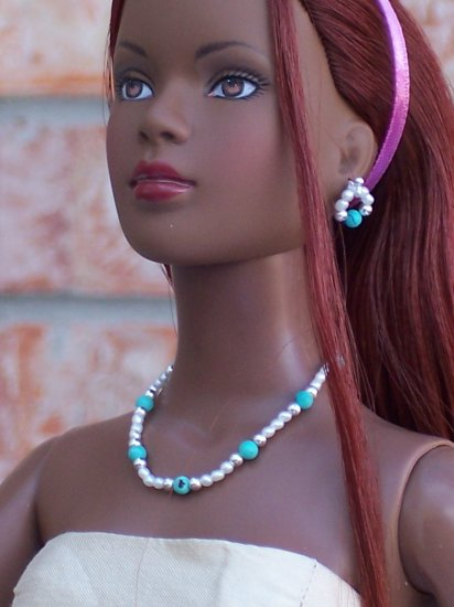 Turquoise and pearls set - Fashion Doll Jewelry