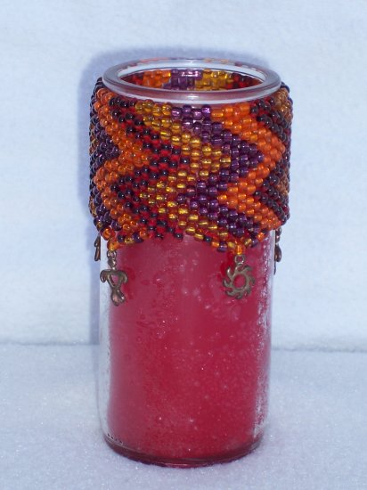Beaded candle - Sunset red