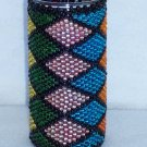Beaded candle - multi-colored diamonds
