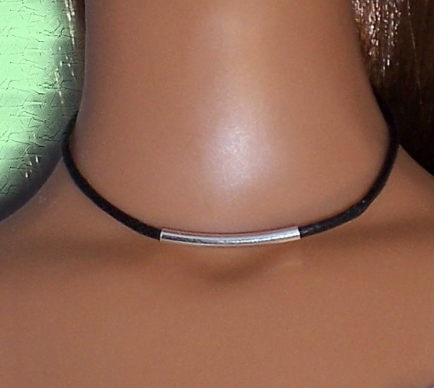 Sterling Tube on cord - BJD and Fashion Doll Jewelry