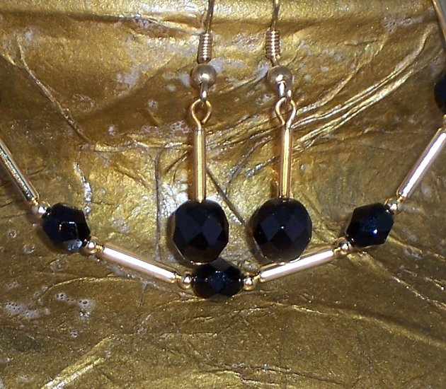 """Jet and gold """"Tin Cup"""" style set"""