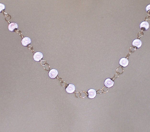 "Lilac wonder bead ""Tin Cup"" style necklace"