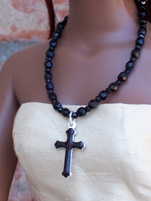 Black glass with enamel cross - Fashion Doll Jewelry