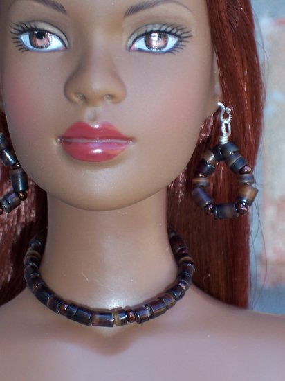 Brown shell choker set - Fashion Doll Jewelry
