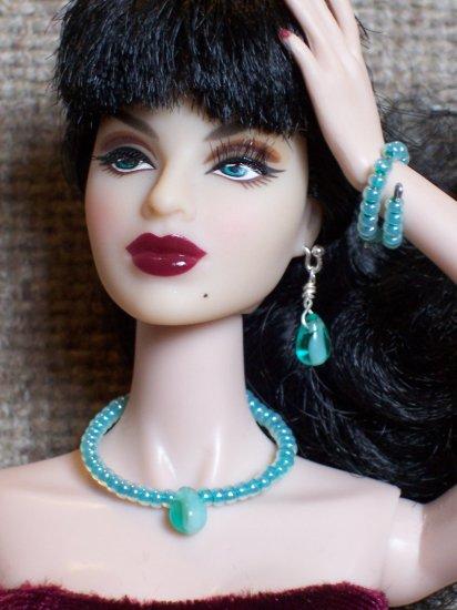 Teal bead drop set - Fashion Doll Jewelry