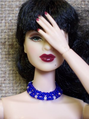 Cobalt netted collar - Fashion Doll Jewelry