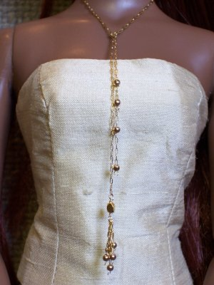 Beaded gold lariat - Fashion Doll Jewelry