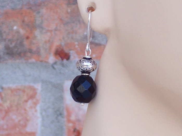 Jet glass and sterling beads set