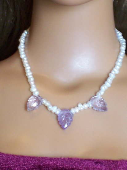 Amethyst leaves and pearls, large- Fashion Doll Jewelry