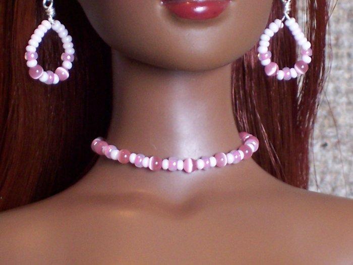 Pink cat's eye set - Fashion Doll Jewelry