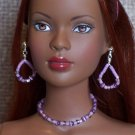 Lavender cat's eye set - Fashion Doll Jewelry