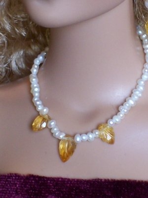 Carved citrine leaves and pearls - Fashion Doll Jewelry