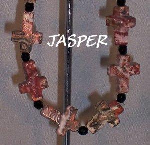 Leopardskin Jasper Cross bracelet - Faith bracelet