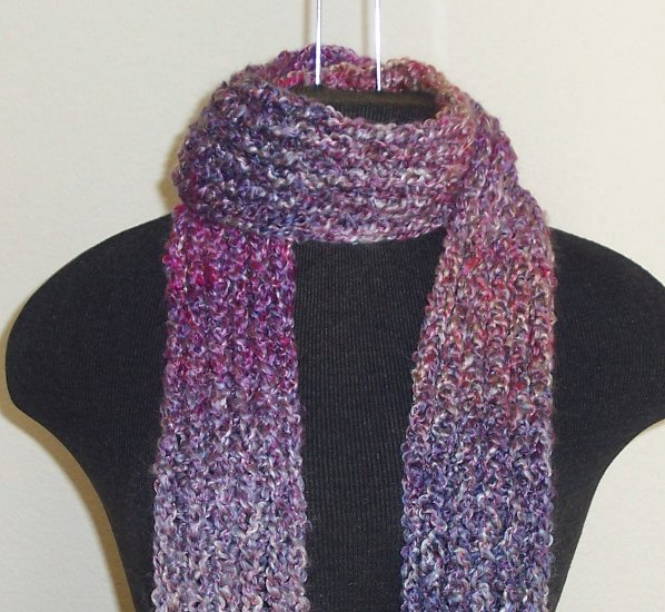 Berry tones boucle scarf with fringe