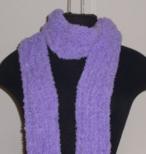 Lavender fuzzy boa skinny scarf