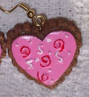 Pink with red swirls earrings