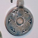 Blue ceramic pendant- Celtic Spirals