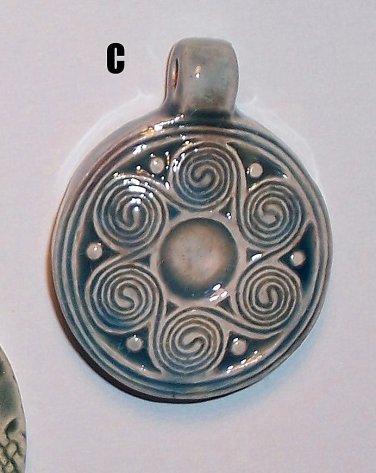 Blue ceramic pendant- Celtic Spirals