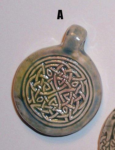 Blue ceramic pendant- Complex Celtic Knot