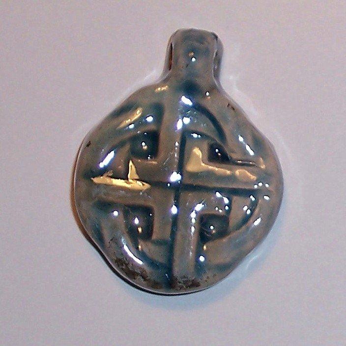 Blue ceramic pendant- Simple Celtic Knot