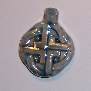 Blue ceramic pendant- Simple Celtic Knot