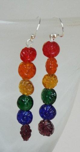 Rainbow Floral Glass Earrings