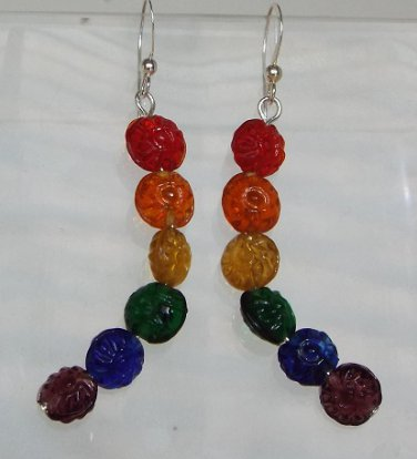 Curved Rainbow Flower Earrings