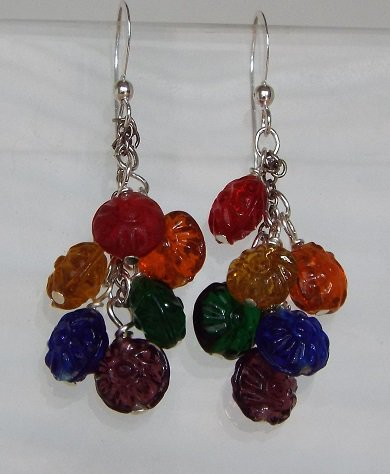 Floral Rainbow Cluster Earrings
