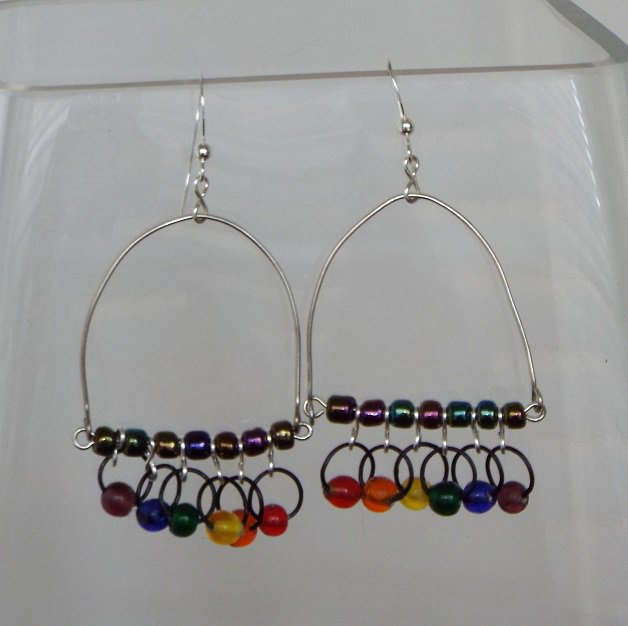 Rainbow Trapeze Earrings