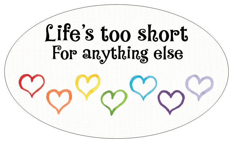 Life's Too Short - small oval Bumper Sticker