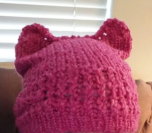 Knit Pussy Hat- Pink Boucle yarn