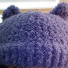 Knit Pussy Hat- Grape Color Fuzzy Yarn