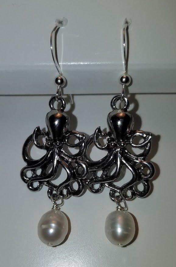 Octopus and Pearl Earrings