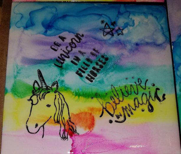 Let's Be Unicorns - set of 4 coasters