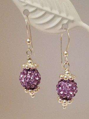 Sparkle Ball Earrings - Luton Lavender