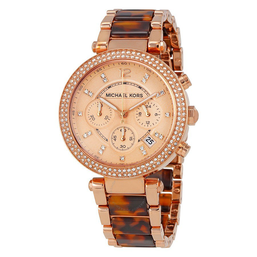 Michael kors parker chronograph rose gold tortoise shell for Michaels craft store watches