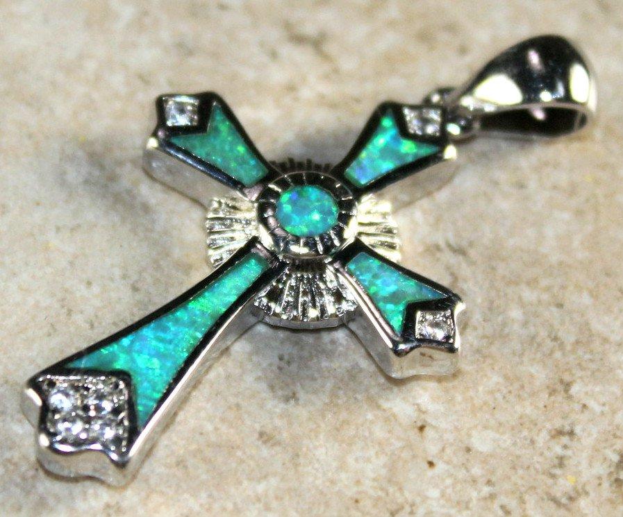 SILVER Elegant Green Fire Opal Cross Pendant Jewelry