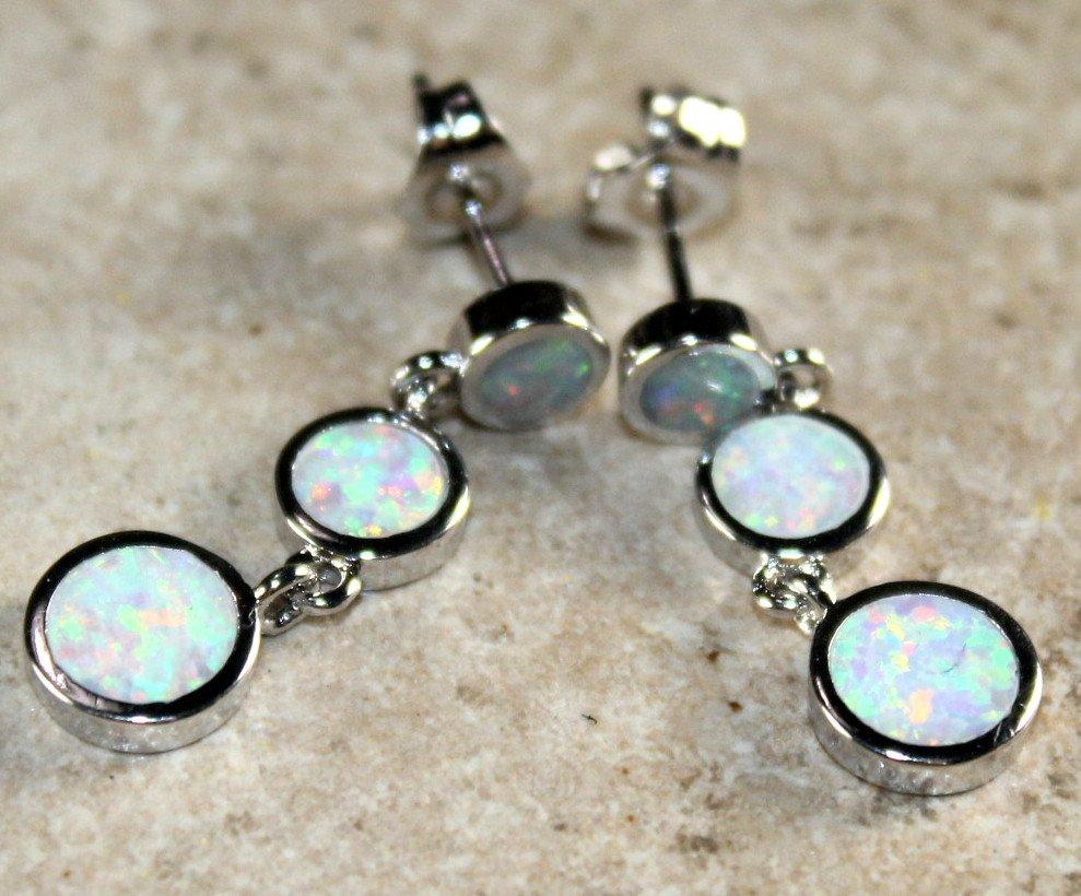 SILVER Elegant White Fire Opal Stud Earrings