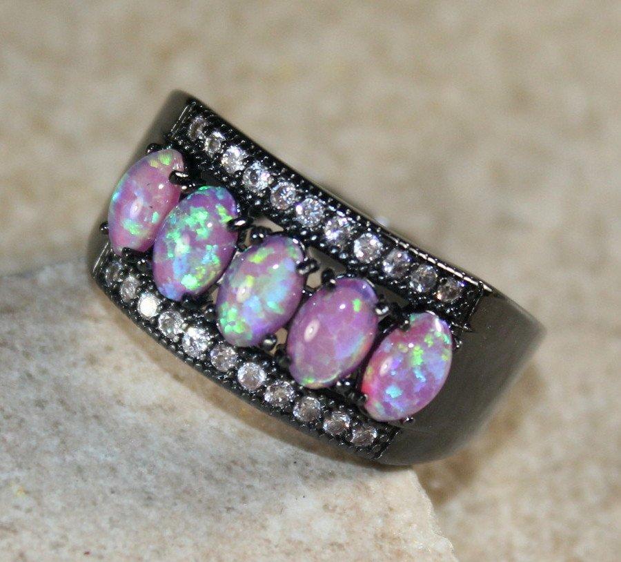 BLACK SILVER Elegant Pink Fire Opal 5 Stone Ring Size 5