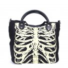 Skeleton Rib Cage Black & White Gothic Handbag
