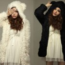 Fuzzy Cream or Black Colored Coat with Adorable Cat/Bear Ears