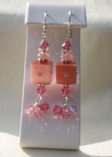 Pink Swarovski Crystal Dangle Earrings with .925 Sterling Silver
